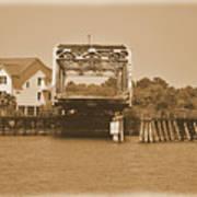 Surf City Vintage Swing Bridge In Sepia 1 Poster