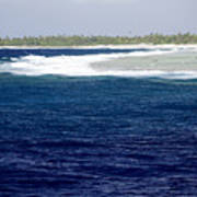 Surf Hits The Outer Reef At Rangiroa Poster by Tim Laman