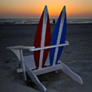 Surfboard Chair Sunset Poster