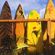 Surfboard Garden Poster