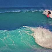 Surfer At Aneaho'omalu Bay Poster by Bette Phelan