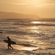 Surfer At Sunset Poster
