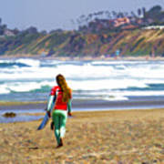 Surfer Girl At Seaside, Ca Poster