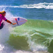 Surfer Girl Taking Flight Poster
