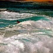 Surfer On Surf, Sunset Beach Poster