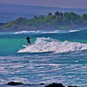 Surfer Rides The Outside Break Poster