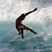 Surfer Slashing The Blue Waves At Dumps Maui Hawaii Poster by Pierre Leclerc Photography
