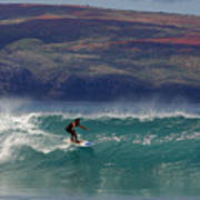 Surfer Surfing The Blue Waves At Dumps Maui Hawaii Poster