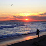 Surfers At Sunset Poster