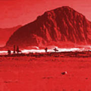 Surfers On Morro Rock Beach In Red Poster