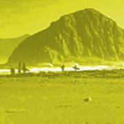 Surfers On Morro Rock Beach In Yellow Poster