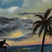 Surfers Sunset Poster