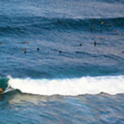 Surfing At Honolua Bay Poster