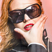 Surprised Young Woman Wearing Fashion Sunglasses Poster