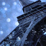 Surreal Blue Eiffel Tower Architecture - Eiffel Tower Sapphire Blue Bokeh Starry Sky Poster