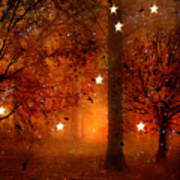 Surreal Fantasy Autumn Woodlands Starry Night Poster