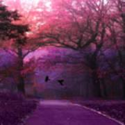 Surreal Fantasy Dark Pink Purple Nature Woodlands Flying Ravens  Poster