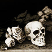 Surreal Gothic Dark Sepia Roses And Skull  Poster