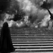Surreal Gothic Infrared Black Caped Figure With Gargoyle On Paris Steps Poster