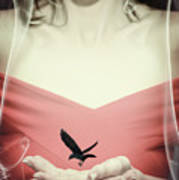Surreal Image Of Woman With Bird Poster