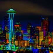 Surreal Seattle Skyline Poster