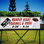 Sushi And Football In Hawaii Poster