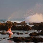 Swan In Ocean Poster