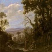 Swanevelt, Herman Van Woerden, 1603 - Paris, 1655 Landscape With Hermit Bound In Chains 1634 - 1639. Poster