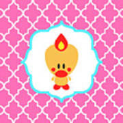 Sweet Angel Bird Cute Pink Trellis Decorative Pillow And Square Wall Art Print Poster