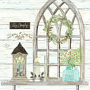 Sweet Life Farmhouse 3 Gothic Window Lantern Floral Shiplap Wood Poster
