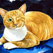 Sweet Melon - Ginger Tabby Cat Painting Poster