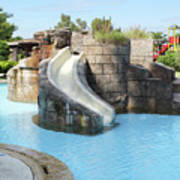 Swimming Pool With Slide For Children Poster