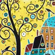 Swirl Tree Two Birds And Houses Poster