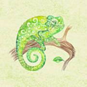 Swirly Chameleon Poster