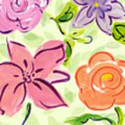 Swirly Flowers Poster