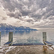 Switzerland, Montreux, Dock On The Lake. Poster