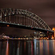 Sydney Harbor At Night With Train Poster