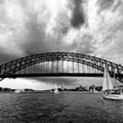 Sydney Harbor Bridge Black And White V2 Poster