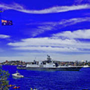 Sydney Harbour And Flying Flag Poster