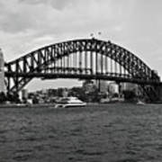 Sydney Harbour Bridge In Black And White Poster