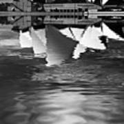 Sydney Opera House Reflection In Monochrome Poster