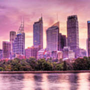 Sydney Tower Skyline At Sunset Poster