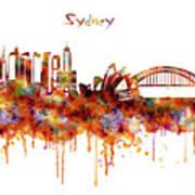 Sydney Watercolor Skyline Poster