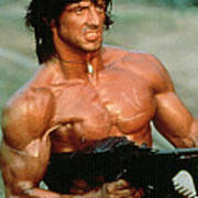 Sylvester Stallone And Browning Machine Gun Rambo 1985 Poster