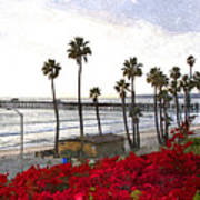 T-street View Of San Clemente Pier Poster