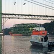 Tacoma Narrows Bridge With Patrol Boat In Foreground Poster