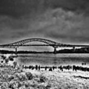 Tacony Palmyra Bridge In B And W Poster