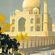 Taj Mahal Visit India Vintage Travel Poster Restored Poster