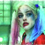 Talking To Harley Quinn - Aquarell Style Poster