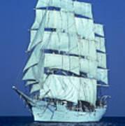 Tall Ship At Sea Poster by Kenneth Garrett